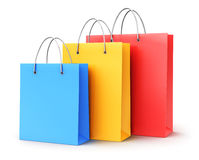 Group of color paper shopping bags Stock Photo
