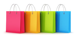 Group of color paper shopping bags Stock Images