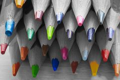Group of color pencils in black and white Royalty Free Stock Photos