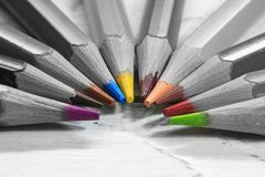 Group of color pencils in black and white Royalty Free Stock Image