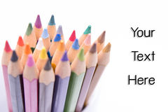Group of color pencils with select focus Royalty Free Stock Image