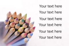 Group of color pencils select focus - Only free font used. Stock Photos