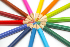 Group of color pencils on white background stock photos