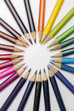 Group of color pencils on white background stock photography