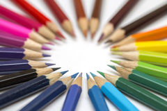 Group of color pencils on white background stock images