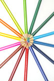 Group of color pencils on white background royalty free stock images