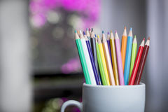 A group of color pencils in a white cup Royalty Free Stock Photos