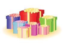 Group of color present boxes Royalty Free Stock Images