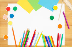 Group  color school supplies Stock Image