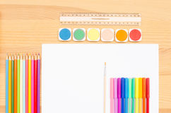 Group  color school supplies Royalty Free Stock Photography