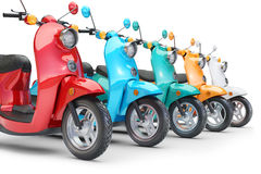 Group color scooters in row Royalty Free Stock Image