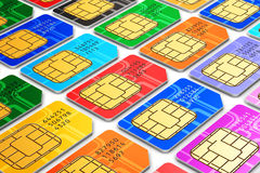 Group of color SIM cards. Creative abstract mobile telecommunication, wireless technology and mobility business communication internet concept: group of color stock illustration