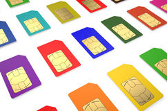 Group of color SIM cards. Isolated on white background stock illustration