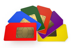 Group of color SIM cards 7 Stock Photo