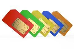 Group of color SIM cards 3. Group of color SIM cards isolated on white background Stock Illustration