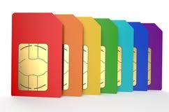 Group of color SIM cards 4. Group of color SIM cards isolated on white background Royalty Free Illustration