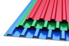 Group of color steel profile sheets Royalty Free Stock Image