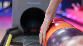 Group of colored bowling balls in the club stock video
