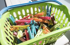 Colored clothing clamps. Group of Colored clothing clamps Stock Photo