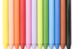 Group of colored crayons on white background top view. Group of colored crayons on white background Royalty Free Stock Photography