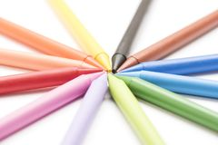 Group of colored crayons on white background. Group of colored crayons on white Stock Photos