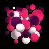 Group of colored 3d spheres. Flying spheres, abstract bubbles. Pink balls, Isolated round orbs. 3D illustration. Flying spheres in empty space, abstract bubbles Stock Photography