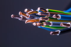 Group of colored electrical cables - studio shot Royalty Free Stock Photography