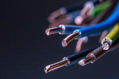 Group of colored electrical cables - studio shot Stock Photos