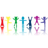 Group of colored kids silhouettes Stock Photos