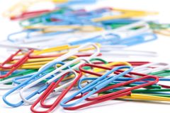 Group of colored paper clips. Stock Images