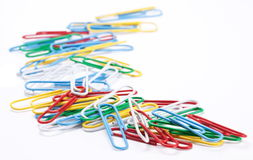 Group of colored paper clips. Royalty Free Stock Photography