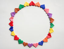 A group of colored paper hearts Stock Photo