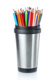 Group of colored pencils for drawing in cup. Royalty Free Stock Photos