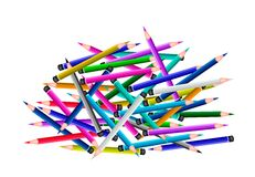 A Group of Colored Pencils on White Background Stock Photos