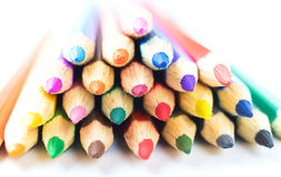 Group of colored pencils on white background royalty free stock images