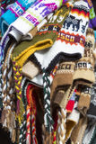Group of colored Peruvian snow cap for sale at the Cusco market. Stock Image