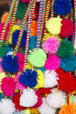 Group of colored Peruvian tassels for sale at the Cusco market. Group of colored Peruvian tassels for sale at the tourist art and craft market in Cusco. Peru stock photos