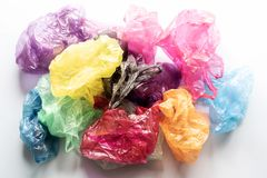 A group of colored plastic bags royalty free stock image