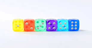 Group of colored plastic dice Stock Photo
