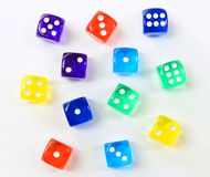 Group of colored plastic dice Stock Image