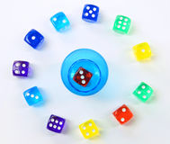 Group of colored plastic dice Stock Photos
