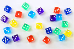 Group of colored plastic dice Royalty Free Stock Photography