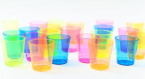 Group of colored plastic glasses Royalty Free Stock Photos