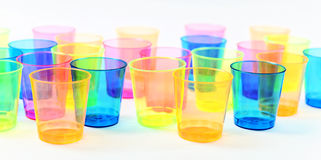 Group of colored plastic glasses Royalty Free Stock Photography