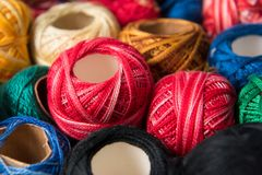 Group of colored sewing threads as colorful background or wallpaper. Stock Photography