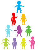 Group of colored stylized kids Royalty Free Stock Photo