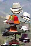 Group of colored tourist hats for sale at the market in Cusco, P Stock Photo