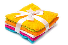 Group of colored towels on white background Royalty Free Stock Photos