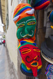Group of colored woolen masks for sale at the market in Cusco, P Royalty Free Stock Photography
