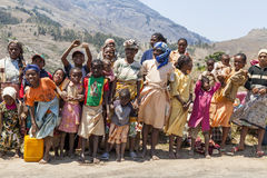 Group of colorful African people. Coming from a market in Madagascar royalty free stock photos